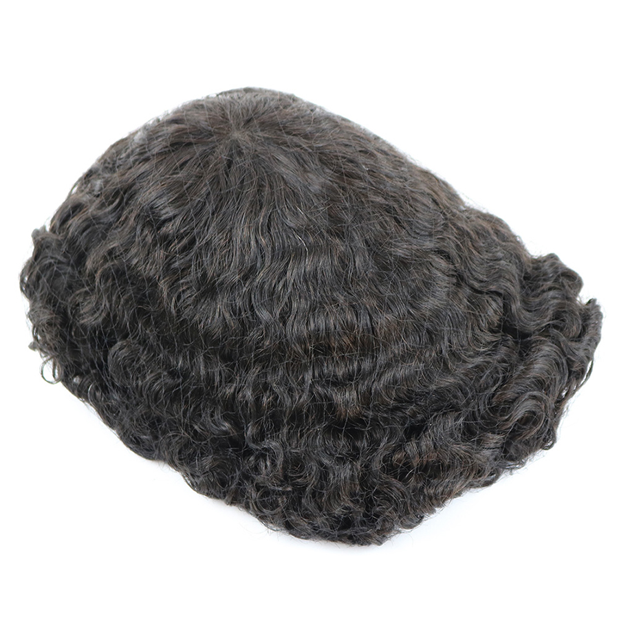 Image 3 - Durable Skin Base 20mm Deep Curl Men Human Hair System Replacement Toupee Hairpiece Installation Wig Prosthesis for Hair LossToupees   -