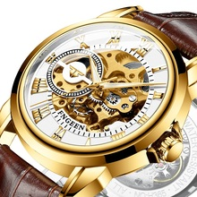 Strap Mechanical-Watch Automatic Wristwatch Clock Stainless-Steel Gold Luxury for Men