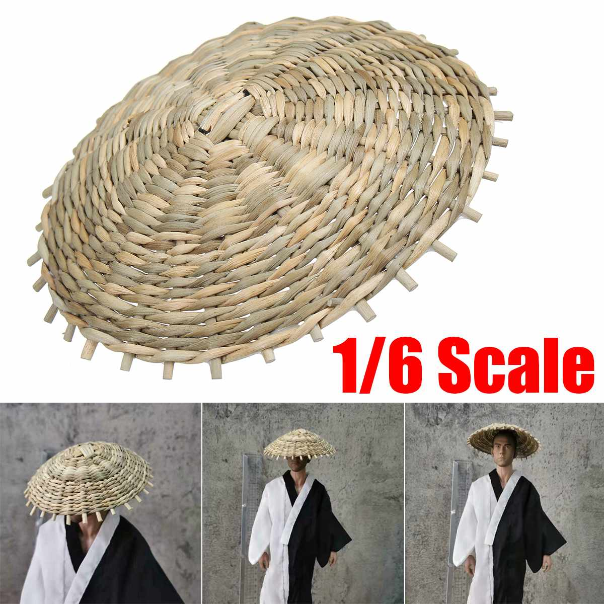1:6 Scale Hat Model Bamboo Hat For Japanese Samurai