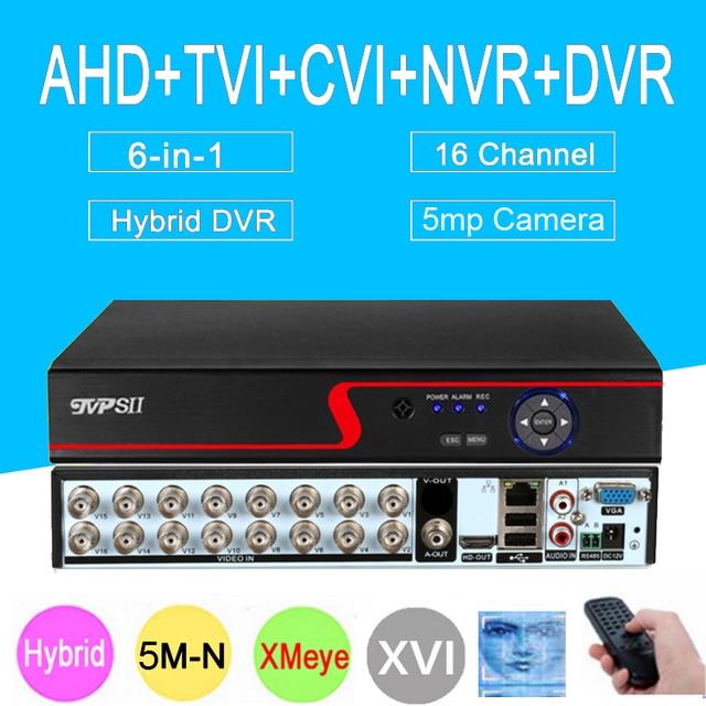 5mp كاميرا تلفزيونات الدوائر المغلقة لوحة حمراء Hi3521D XMeye 5M N 16CH 16 قناة H265 + الصوت 6 في 1 واي فاي محوري الهجين Onvif XVI NVR TVI AHD DVR