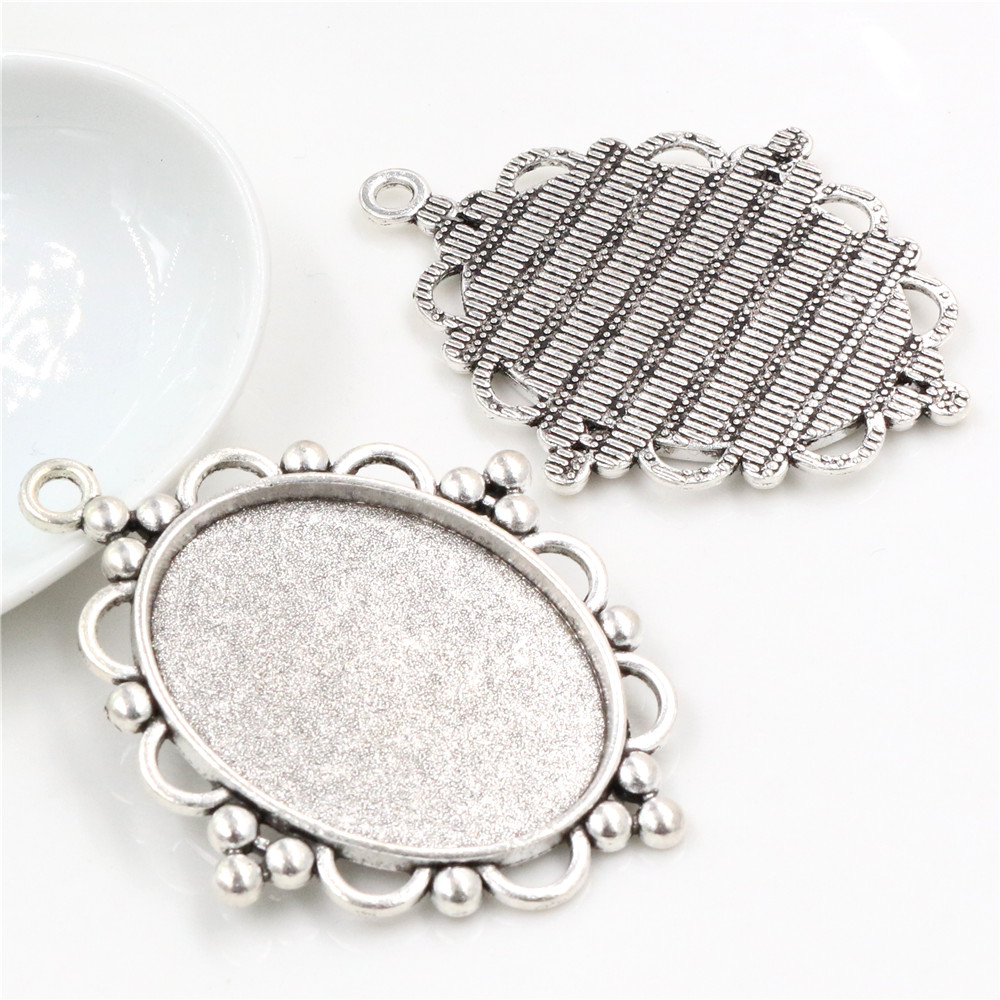 5pcs 30x40mm Inner Size Antique Silver  Pierced Style Cabochon Base Setting Charms Pendant (B4-21)