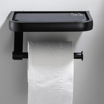 Toilet Paper Holder Tissue Paper Wall Mounted Black Holder With Phone Storage Shelf Paper Towel Holder Bathroom Wc Accessories stainless steel toilet paper tray roll traceless tissue paper holder storage box wall mounted bathroom wc shelf accessories
