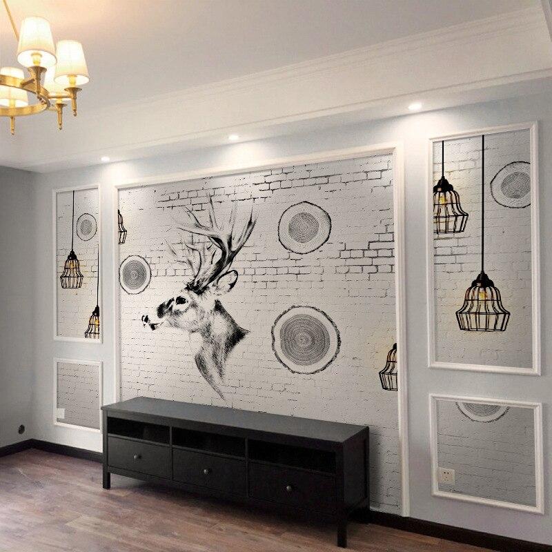Customizable Northern European-Style Hand-Painted Elk Art TV Backdrop Wallpaper Mural Bedroom Sofa Wallpaper Living Room Wall Cl
