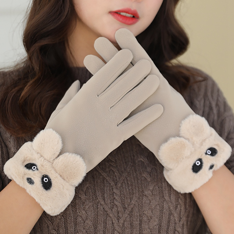 *Autumn Winter Women Casual Style Lovely Bear Furry Mittens High Quality Plus Velvet Suede Touch Screen Cold Protection Gloves