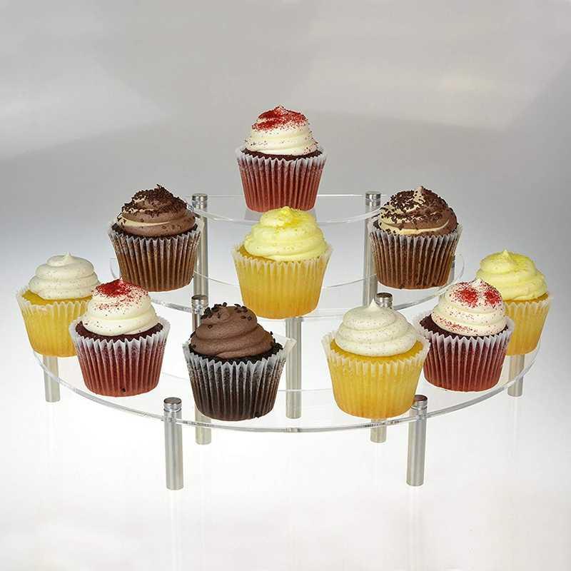 3-Tier ברור אקריליק חצי עיגול עגול Cupcake קינוח תצוגת Stand