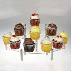 3-Tier przezroczysty akrylowy półkole okrągłe Cupcake deser wyświetlacz stojak stojak cupcake wyświetlić babeczki