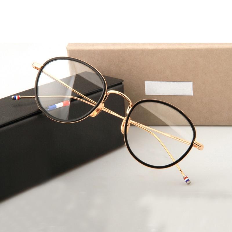 Thom Brand Design Vintage Round Acetate Metal Eyeglasses Optical Prescription Glasses Frame For Men Women Circle Eyewear 905