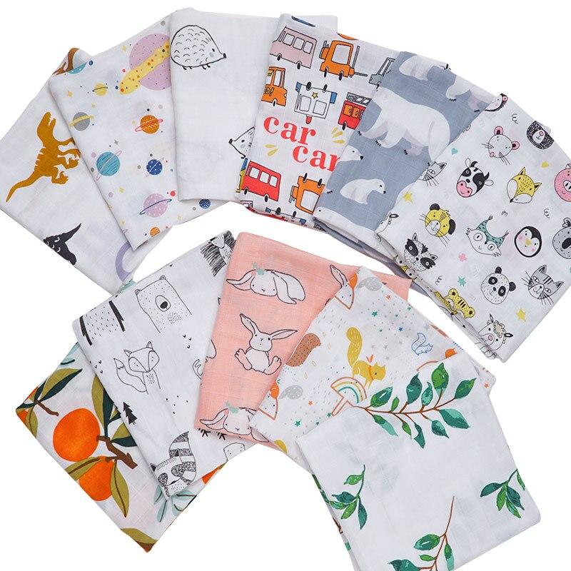 2020 Cotton Baby Muslin Blanket Bibs Newborn Cartoon Animal Printed Bandana Kerchief Infant Swaddle Wrap Burp Cloth Towel Scarf
