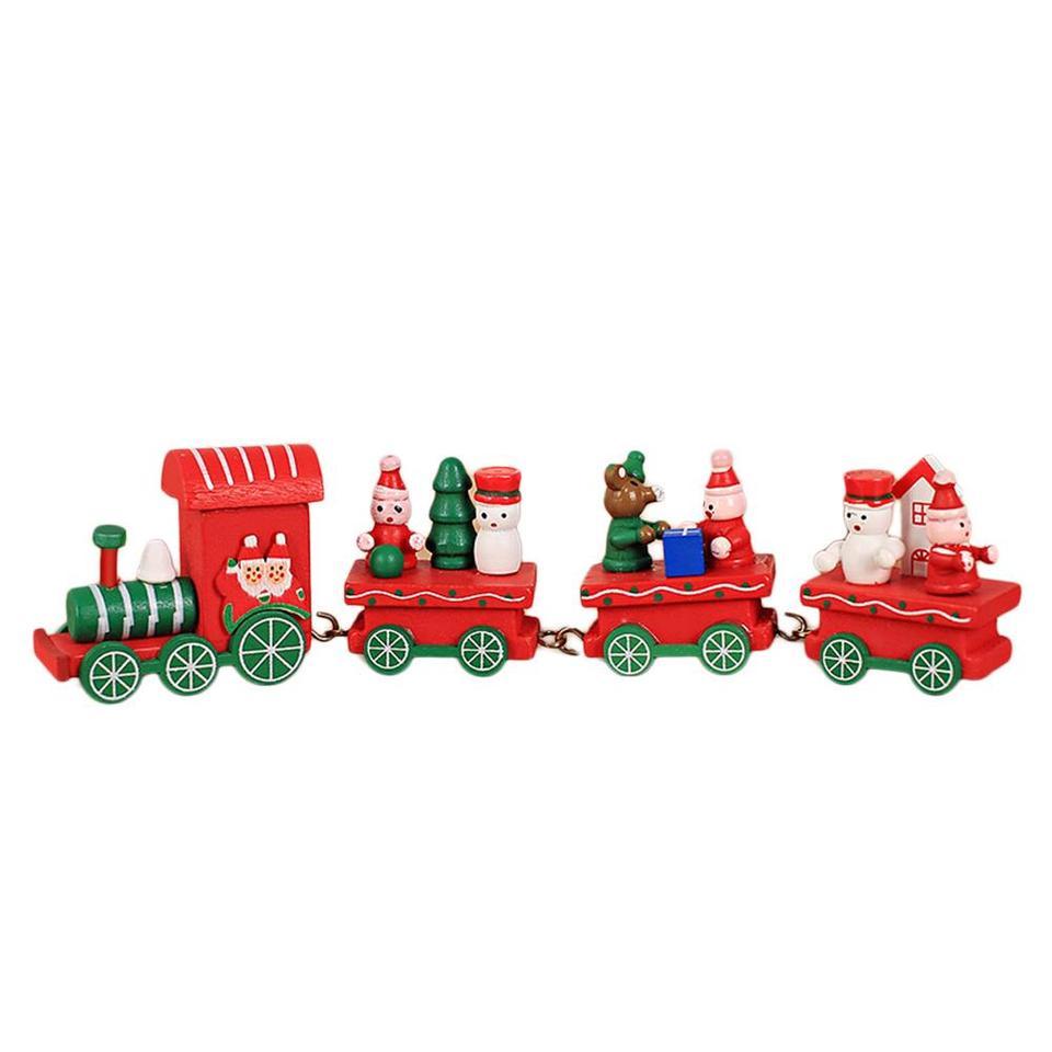 Christmas Wooden Little Train Decoration Xmas Festival Children Toys Creative