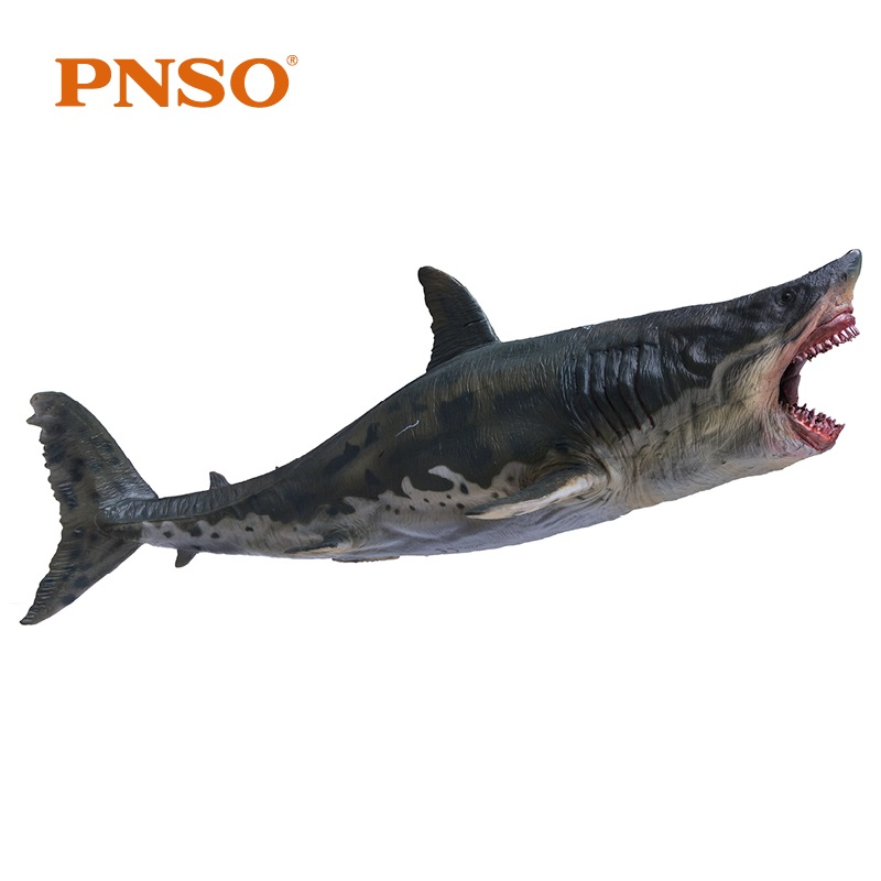 PNSO Megalodon Shark With Bracket Stand Support Classic Toys For Children Boys Sea Life Ancient Animal Figure Model