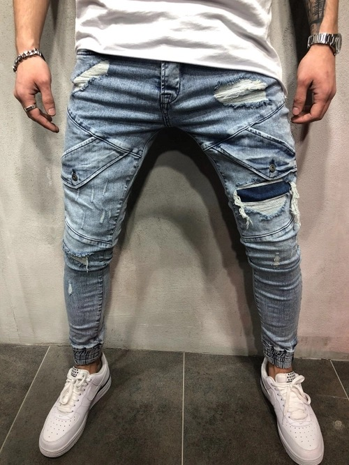 2018 Europe And America New Style Men Skinny Jeans Knee Ripped Pants Feet Zipper Men's Ankle Banded Pants Cross Border