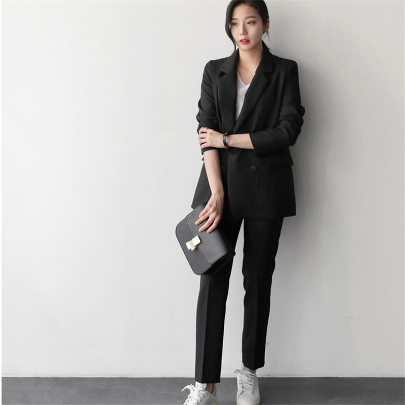HziriP Vintage Chic Autumn Women All Match OL Retro Elegant Office Lady Blazer+Striped Full-Length Trouser Suits 2 Piece Sets