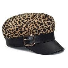 Зимняя леопардовая женская шапка с металлической пряжкой, шерстяная восьмиугольная кепка из искусственной кожи, военный берет, шапки, регулируемая Модная женская кепка