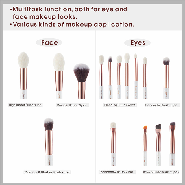 Jessup Pearl White/Rose Gold Professional Makeup Brushes Set Make up Brush Tools kit Foundation Powder natural-synthetic hair 3