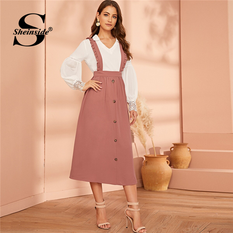 Sheinside Elegant Button Detail Skirts Women 2019 Autumn Pleated Skirt With Ruffle Straps Ladies Solid Minimalist Midi Skirt