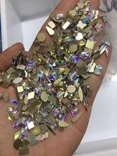 Kristaller tırnak sanat/kristal AB/100 adet Mix boyutu 100 adet kristaller AB Rhinestones Flatback cam taşlar çivi dekorasyon