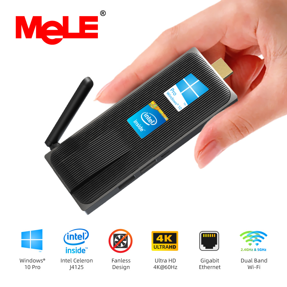 Intel Celeron J4125 Quad Core 8GB 128GB J4105 J3455 4K Fanless Mini PC Windows 10 Pro MeLE PC Stick Mini Computer HDMI WiFi LAN