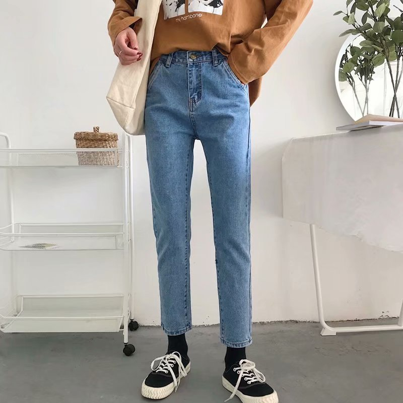 Simple Solid Color   Jeans   Women Straight   Jeans   2019 Autumn New   Jeans   Femme Loose Harem Pants High Waist   Jeans