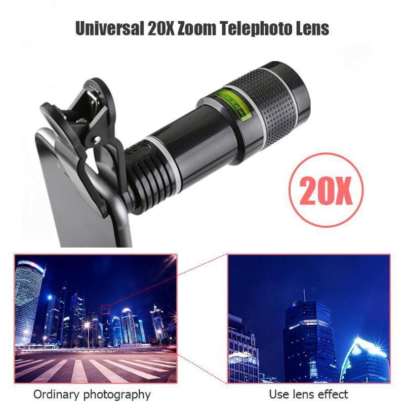 Универсальный 20X зум телеобъектив внешний мобильный телефон объектив камеры с зажимом для iPhone Универсальный объектив DSLR объектив мобильно...