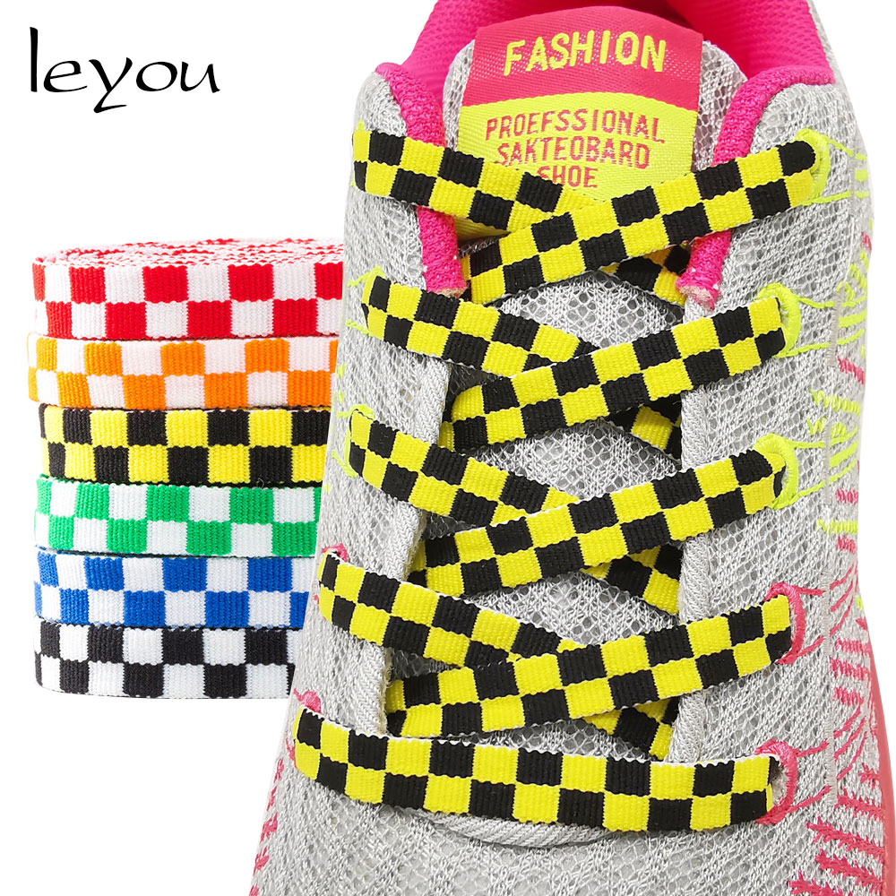 100-150cm Grid Offwhite Shoelaces Flat Sneaker Ribbon Shoe Laces Black And White Shoe Laces Checkered Shoe Accessoires