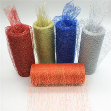 15cm*10Y Gold Wire Organza Sheer Gauze Element Table Runner Tissue Tulle Roll Spool Craft Party Wedding Decoration 10 Colour