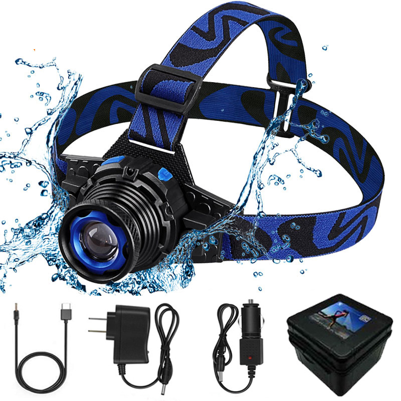 E Waterproof Headlamp Head Lights Fishing Tail Lights Forehead Head Headlights Torch Hunting Head Fishing Mining Lights Lamp