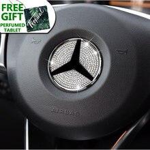Автомобильная эмблема рулевого колеса 3d Стразы логотип наклейка