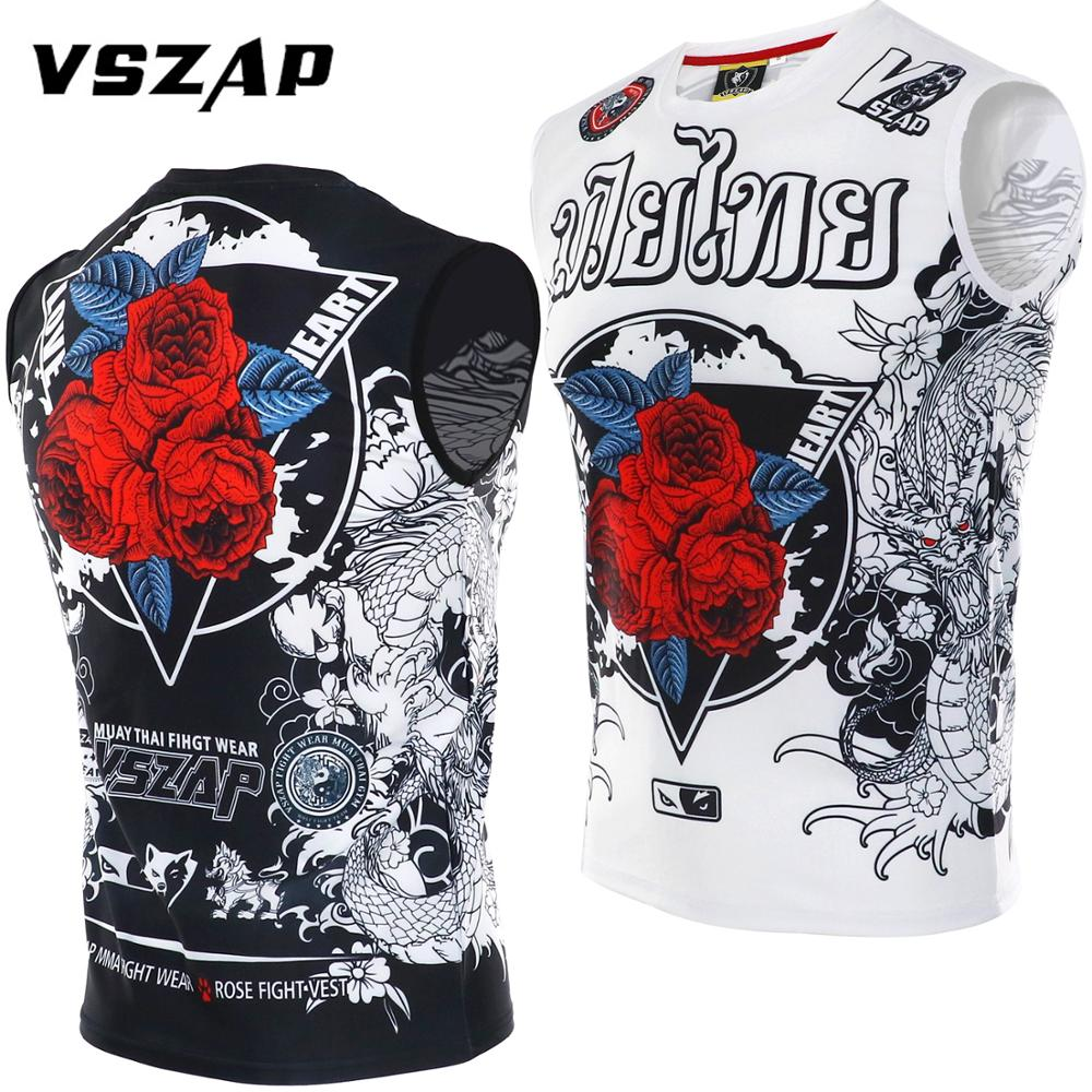 VSZAP Fast Dry Stretch Sleeveless Vest Fitness Muscle T Shirt Man MMA Sport Fight Tai Boxing Martial Arts