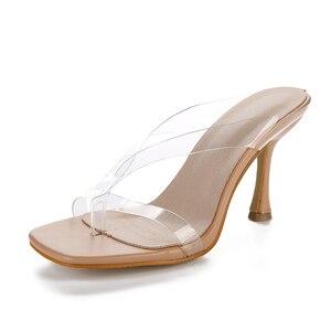 Image 2 - Kcenid Neue PVC transparent hausschuhe frauen high heels sommer hausschuhe flip flops für frauen sexy karree klar sandalen schuhe