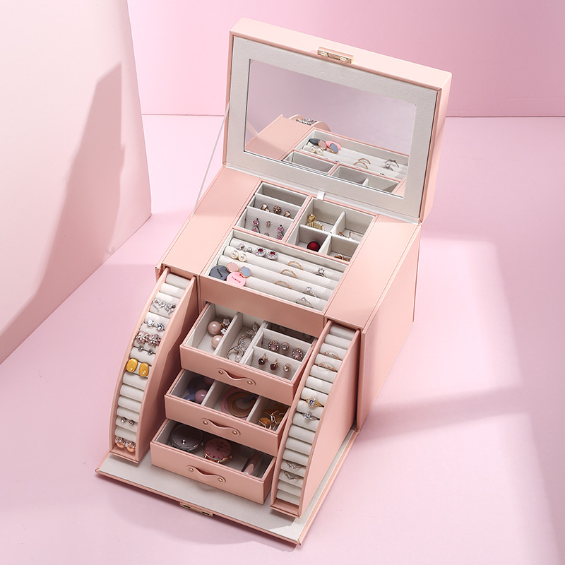 Casegrace 2020 New Design Large Jewelry Box With Mirror Jewelry Display Casket Earrings Ring Boxes Jewelry