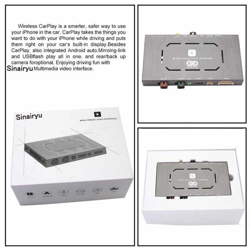 Sinairyu アフターマーケットワイヤレス OEM アップル CarPlay Android の自動ミラーレトロフィットメルセデス C クラス W205 GLC X253 15-19 NTG5 遊び