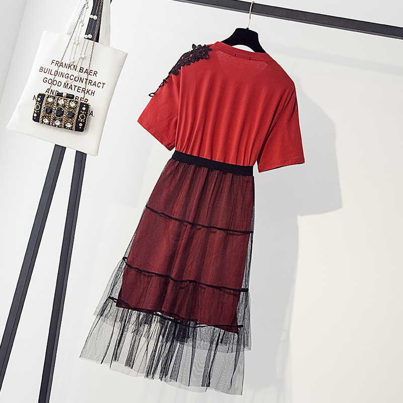 Два комплекта экранной пряжи для футболки платье с большим размером, жир мм, свободный внешний вид и тонкий на месте