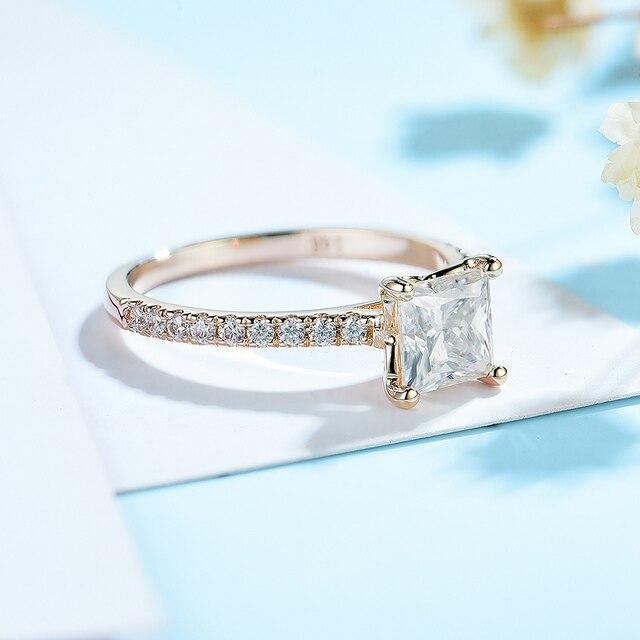 Kuololit 585 14k 10k 1.5ct moissanite anel para as mulheres princesa corte vvs solitaire anel para noivado nupcial promessa aniversário 2