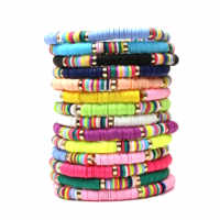 Boho Heishi Polymer Clay Disc Beads Stretch Bracelet 2019 New Fashion Multicolored Vinyl Record Beads Mixed Surf Jewelry Gift