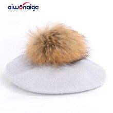 Fashion outdoor beret ladies raccoon fur pom-pom painter hat