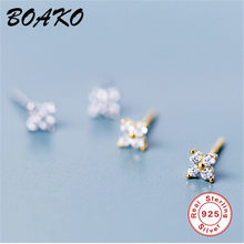 BOAKO 100% 925 Sterling Silver Earrings Korean Jewelry Fashion Cute Tiny Flower Stud Earrings for Women Ear Stud Tiny Cz Earings(China)