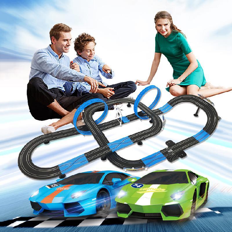 Двойной электрический пульт дистанционного управления игрушечный поезд трек электрическая автоматическая регулировка цепи гоночный авто...