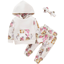 2019 Fall winter Floral Baby Girl Clothes Set Long Sleeve Cotton Hoodie Tops +Pant Newborn Baby Girls Clothing Set Cute Suit D20 2017 baby girl flower winter clothes shirt long sleeve cotton tops pants leggings set fall cotton girls hoodie toddler clothing