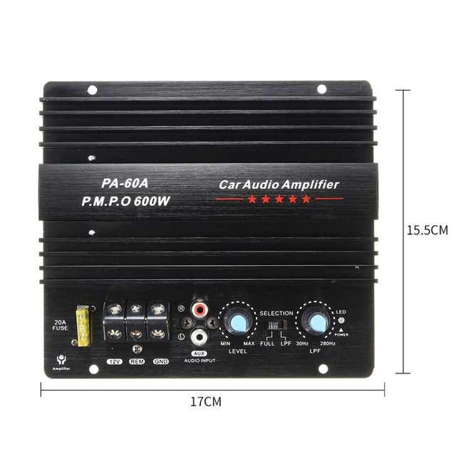 12V 600W High Power Car Audio Versterker Boord Auto Subwoofer Versterker Bass Draagbare Speaker Mono Kanaal Duurzaam Lossless PA-60A