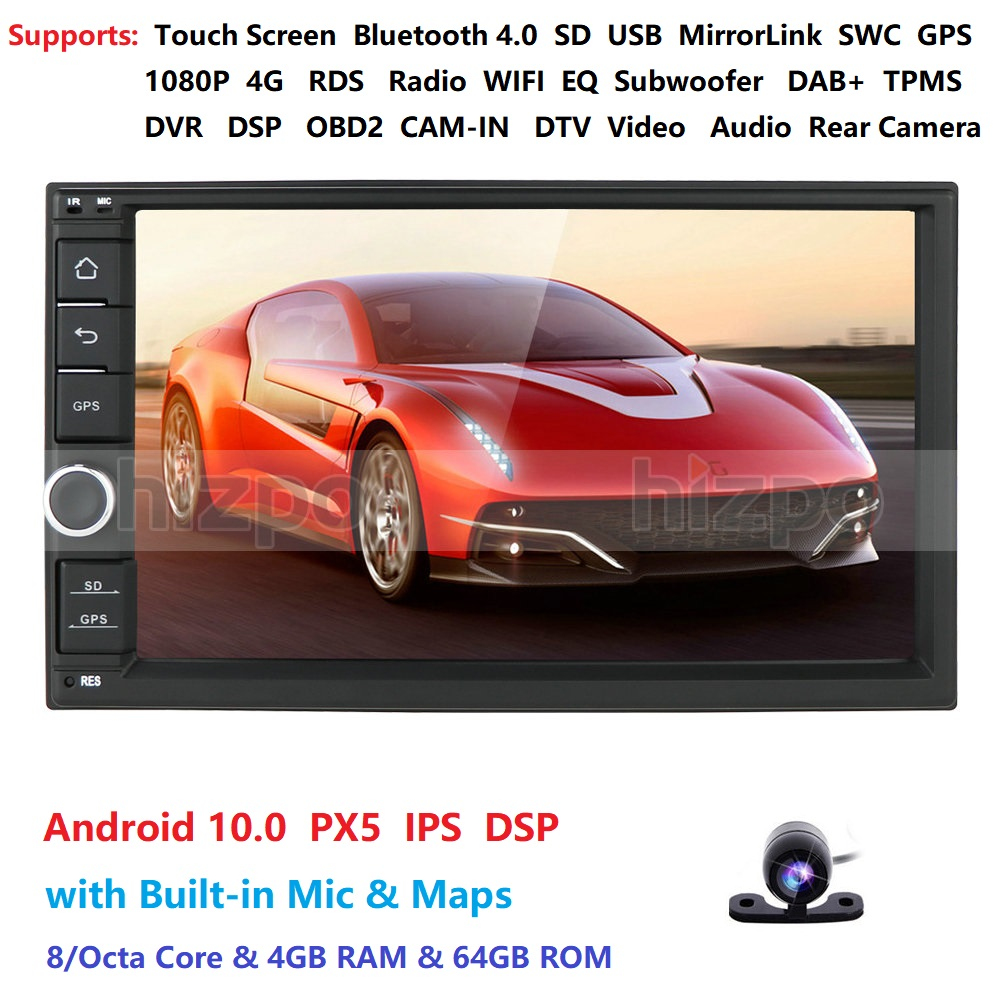 2 Din 7''Octa Core Universal Android 10.0 4GB RAM Car Radio Stereo GPS Navigation WiFi 1024*600 Touch Screen 2din Car PC DAB+SWC