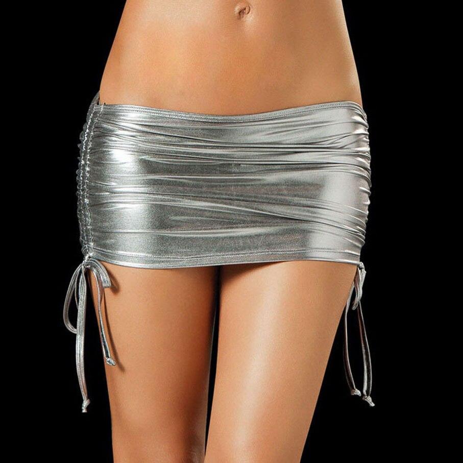Low Waist Drawstring Micro Mini Skirts With Miniskirt Shiny Sexy Package Hip Night Clubwear Jupe Femme PU Leather Pencil Skirt