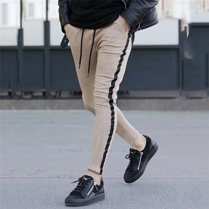 Korean Men/'s Slim Fit Skinny Pants Elastic Waist Stripe Casual Leisure Trousers