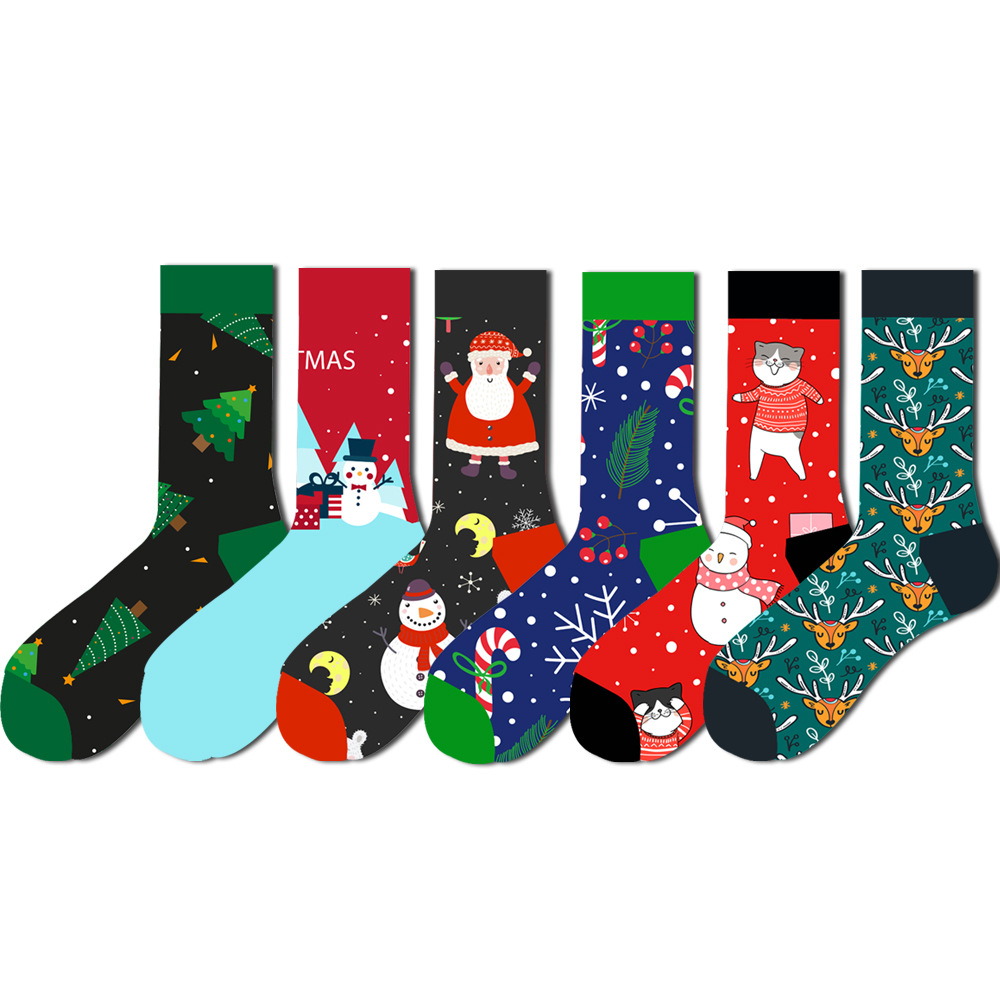 12 Colors Christmas Socks For Men Cotton Winter Warm Sock Unisex New Year Cartoon Elk Socks Male Santa Claus Sox Dropshipping