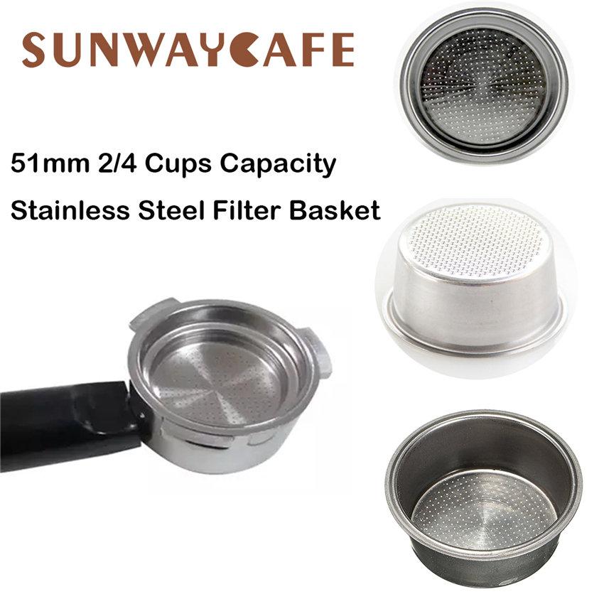 51mm Coffee Filter Basket 2/4 Cup Capacity Stainless Steel Non Pressurized Filter Basket Coffee Machine Accessories For Barista