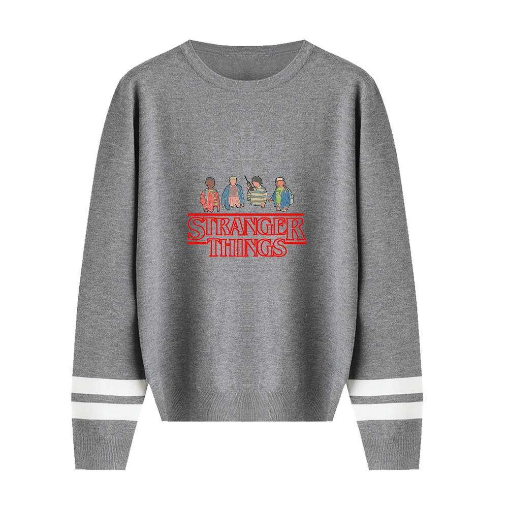 Stranger Things Kawaii Sweater 2019 New Arrival Plus Size Blue Gray Black Dark Blue Pink