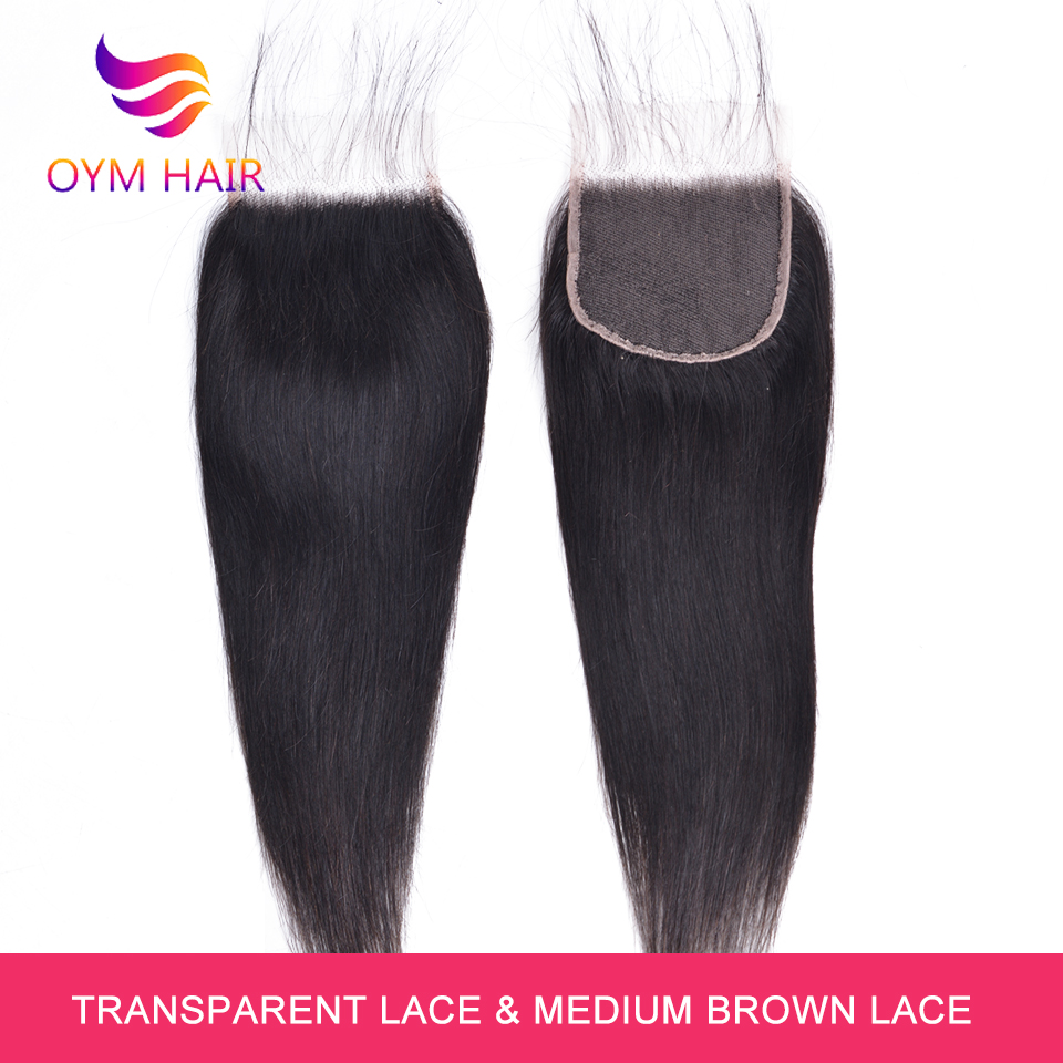 OYM HAIR Straight Hair HD Transparent Lace Closure Free/Middle/Three Part Remy Human Hair Middle Ratio 8-20Inch 4x4 Lace Closure
