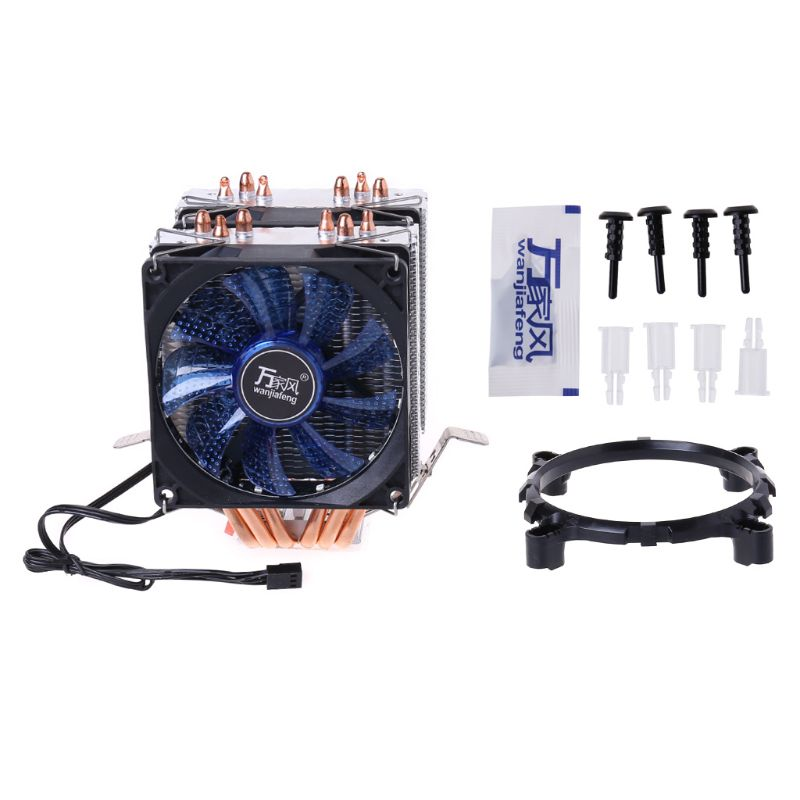 DC12V 4Pin <font><b>CPU</b></font> <font><b>Cooler</b></font> <font><b>115X</b></font> 1366 2011 6 Heatpipe Dual-tower Cooling Fan for AMD 775/1150 image
