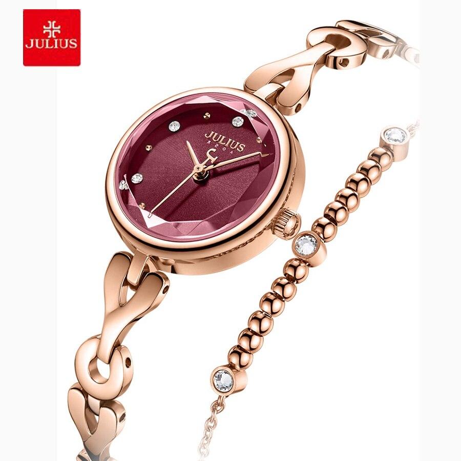 Relógio de Pulso Moda à Prova Julius Luxo Novo Simples Senhoras Pulseira Relógio Dwaterproof Água Aço Inoxidável Zegarek Damski