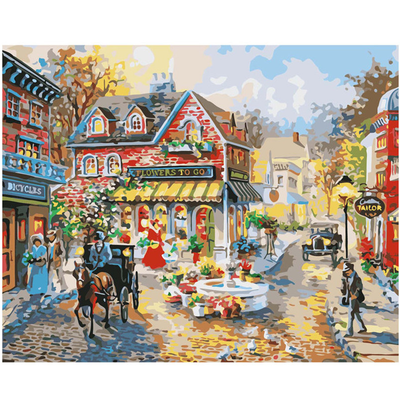 WEEN Small Town Horse-DIY Painting By Numbers Kit,Acrylic Paint,Wall Art Picture,Hand Painted Oil Canvas 40x50cm