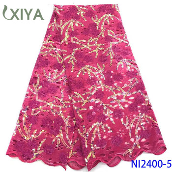 Best Quality Velvet Lace Fabric with Sequins African Fabric Lace Sequence Fabrics for Nigerian Wedding Velvet Fabric NI2400